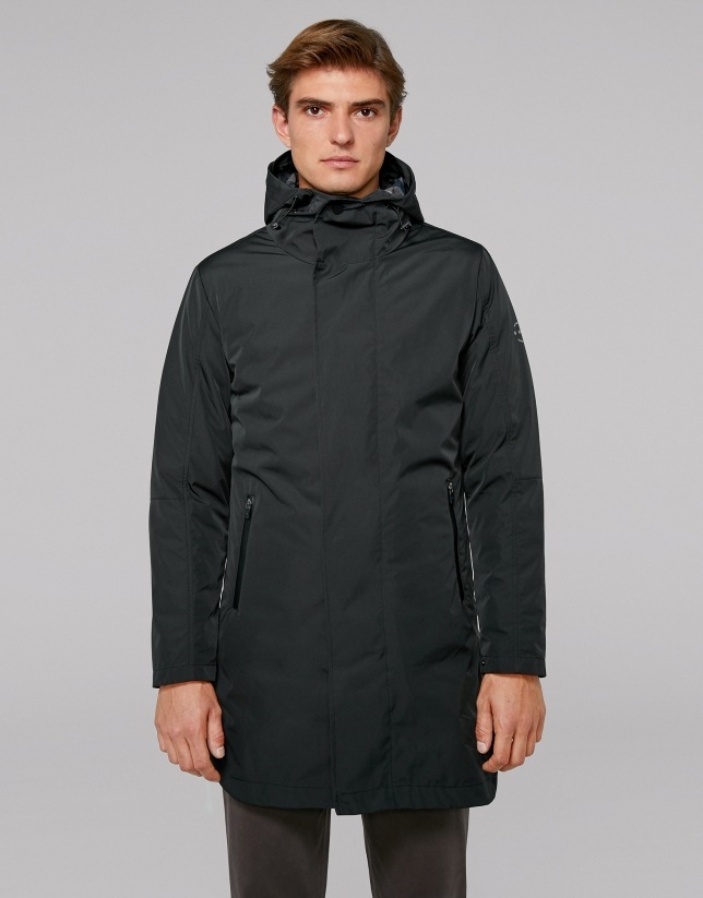 Black tech fabric, 2 in 1 trench coat