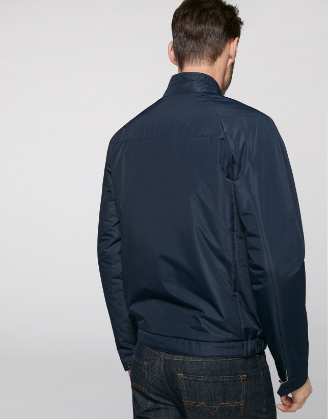 Navy blue and camel reversible windbreaker