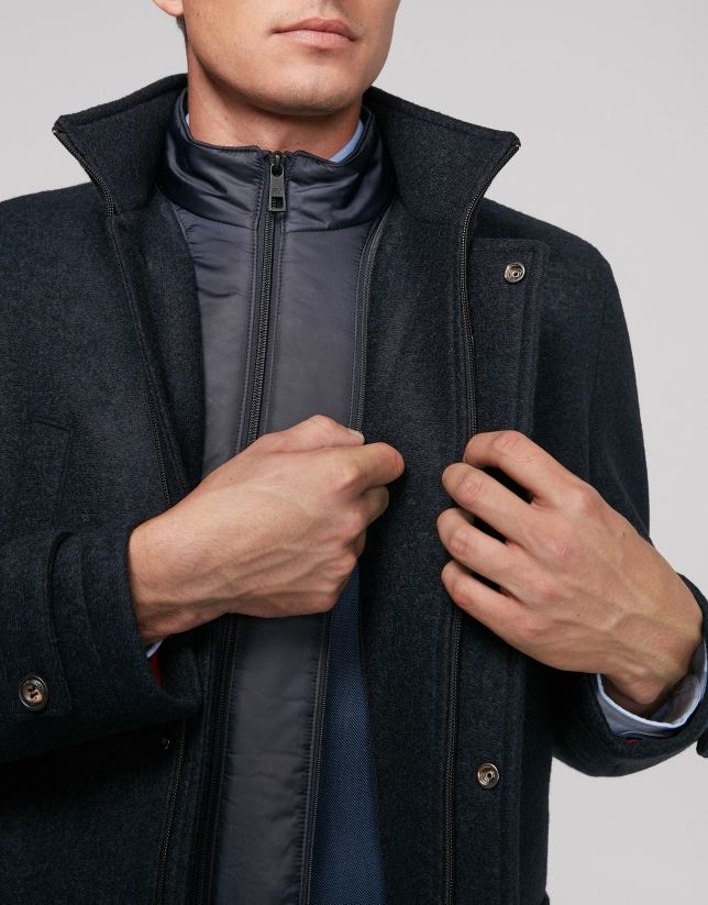Navy blue coat with detachable dickey
