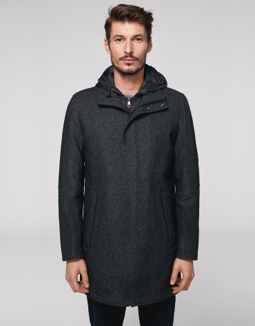 Gray wool coat with hood