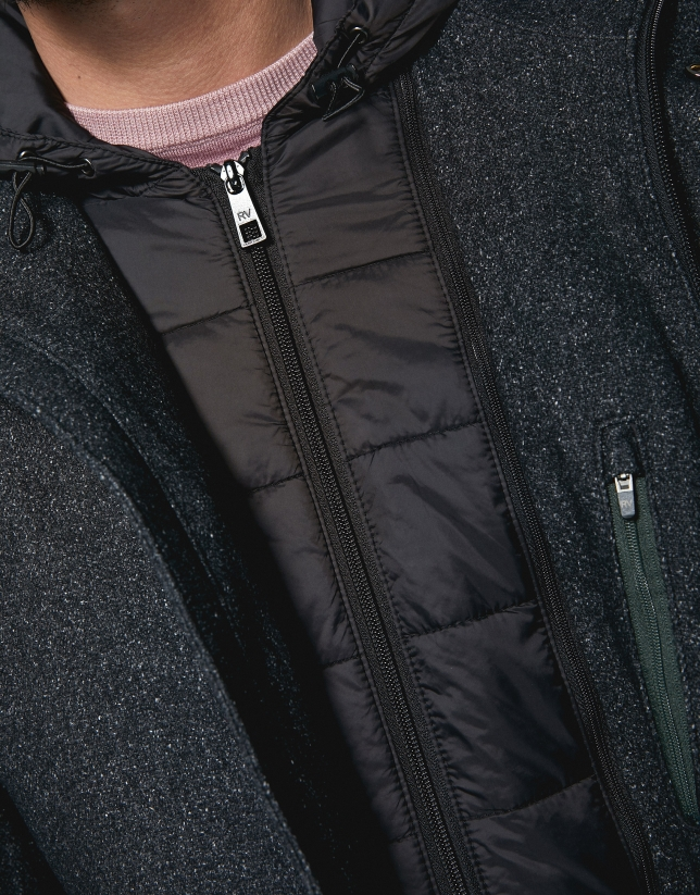 Gray wool coat with hood