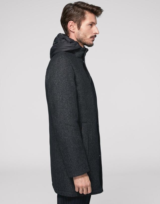 Abrigo lana gris con capucha
