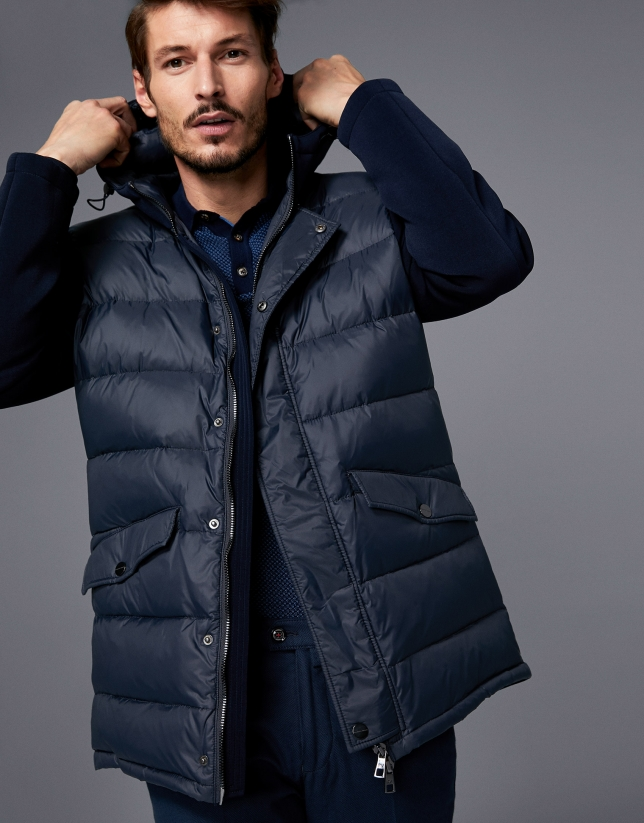 Navy blue tech fabric parka with hood
