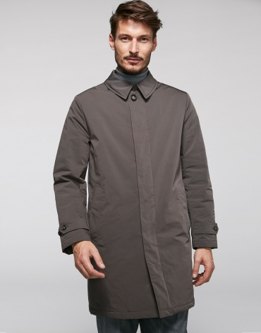 Brown tech fabric trench coat