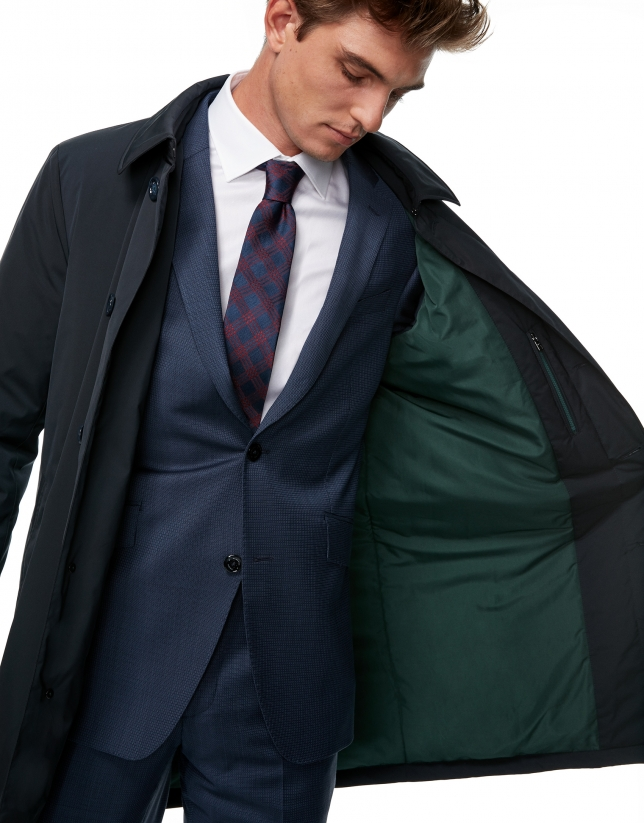 Navy blue tech fabric trench coat