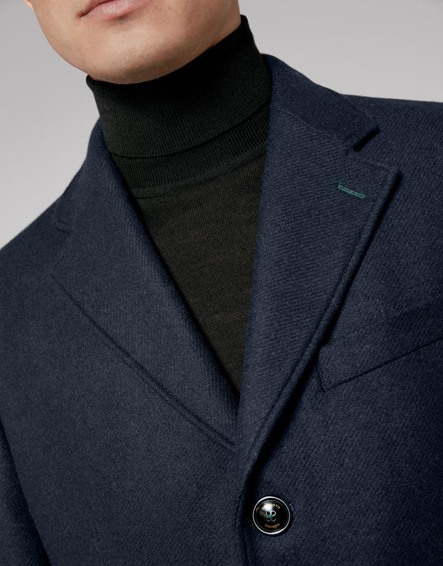 Navy blue coat with plaid interior