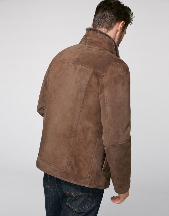 Brown, two-sided, leather windbreaker