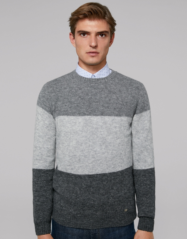 Gray melange color-block sweater