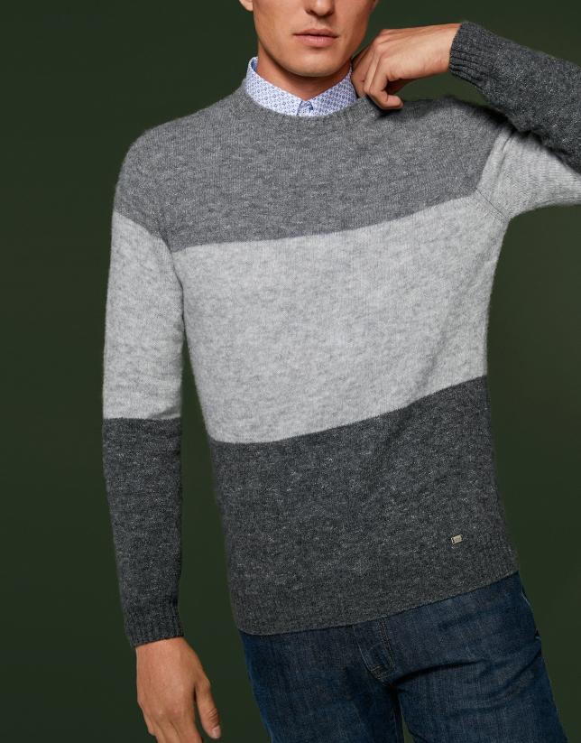 Pull bloc de couleurs gris mélangé