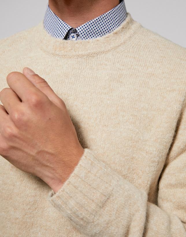 Plain beige knit sweater