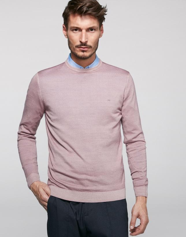 Jersey cuello caja lana tintada rosa