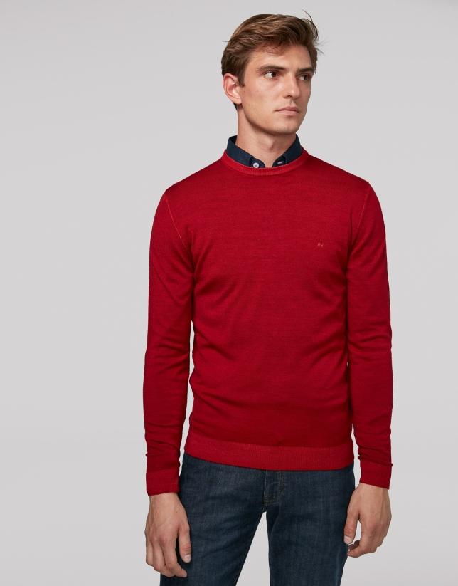 Jersey cuello caja lana tintada rojo