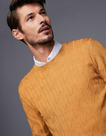 Jersey lana tintada trabajada dorado