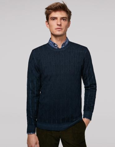 Jersey lana tintada trabajada marino