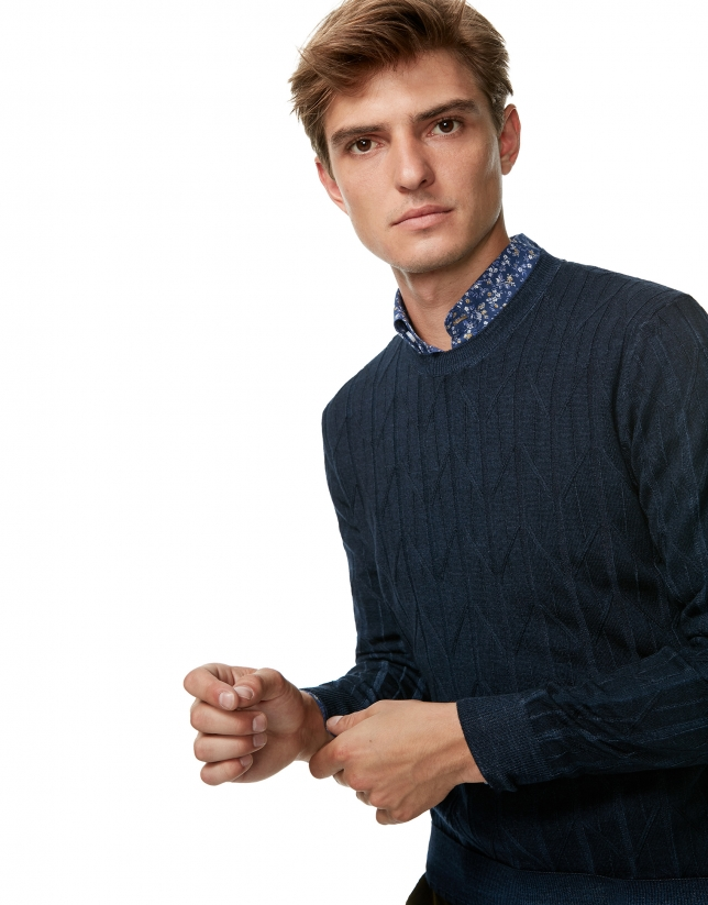 Dyed wool sweater with navy blue hood
