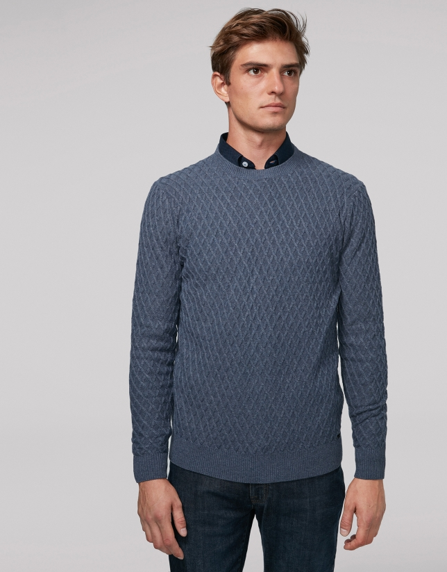 Blue melange wool sweater with design
