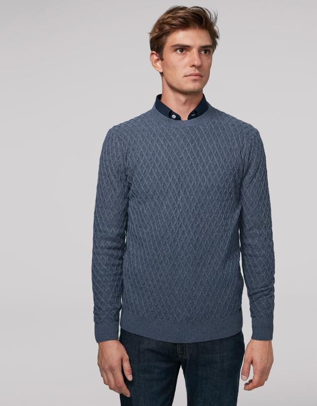 Pull en laine bleu mélangé