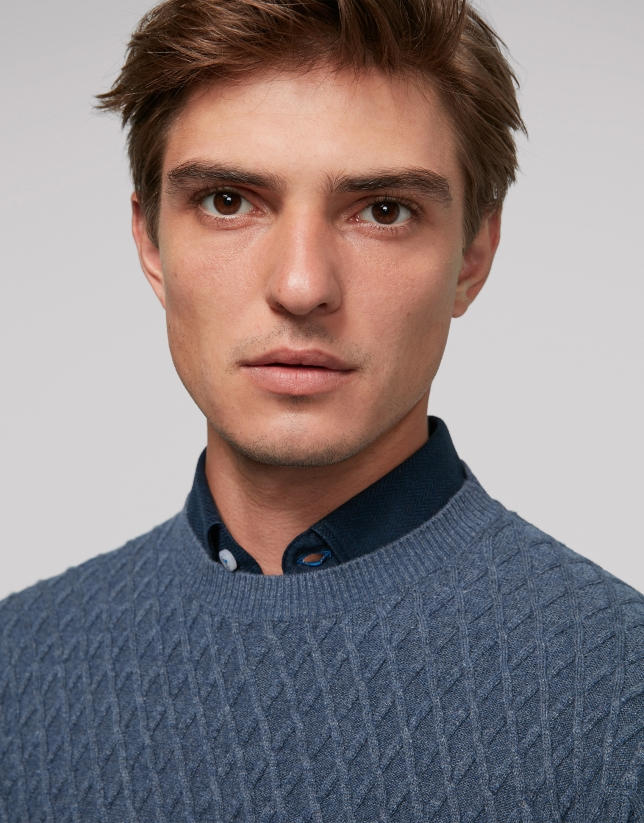 Blue melange wool sweater with design