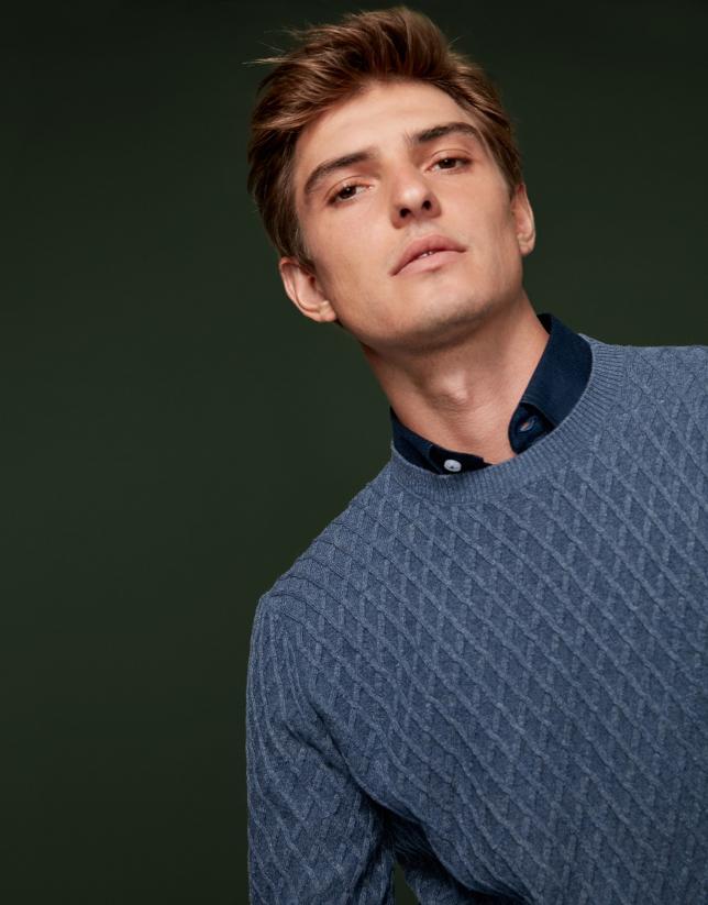 Jersey lana con trabajado azul melange