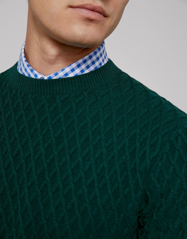 Green wool sweater with design