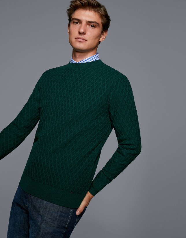 Jersey lana con trabajado verde