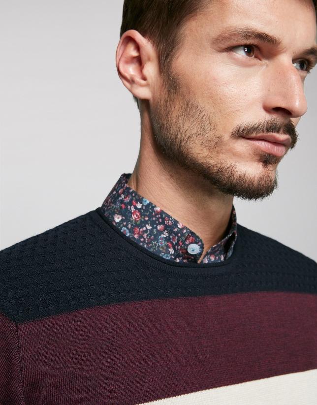 Jersey lana marino con rayas