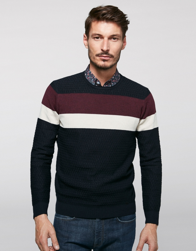 Navy blue wool sweater with stripes