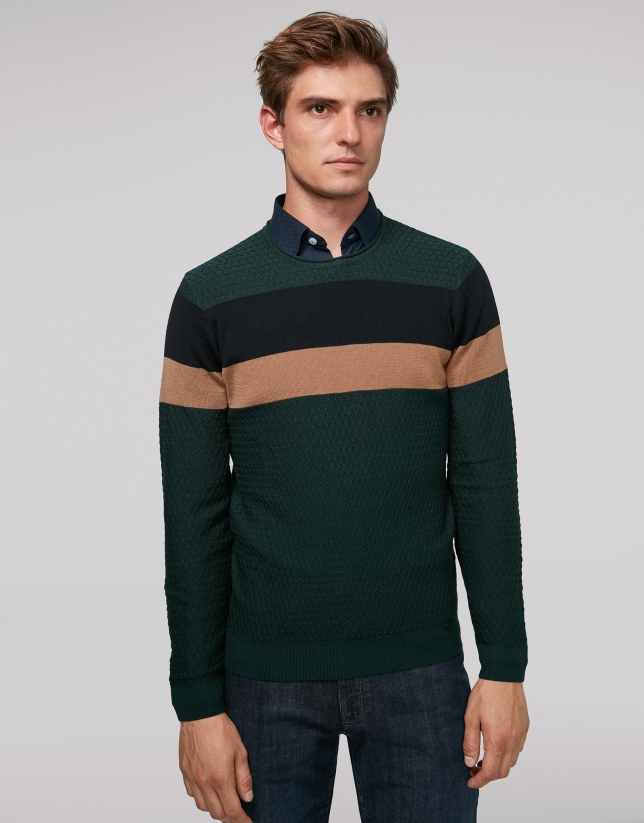 Green wool sweater with stripes