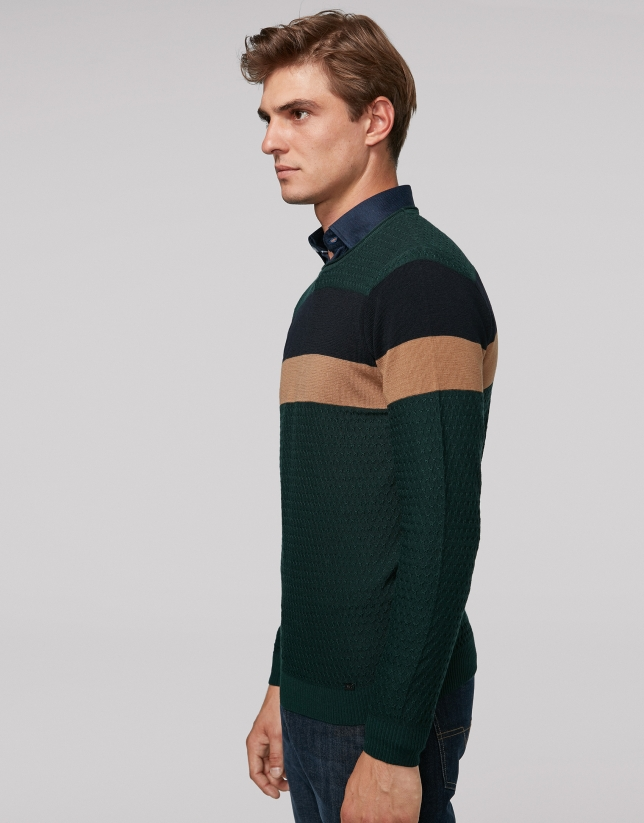 Jersey lana verde con rayas