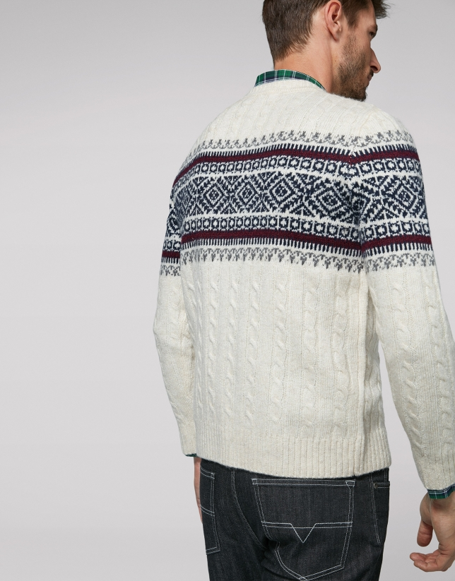 Beige sweater with front trim