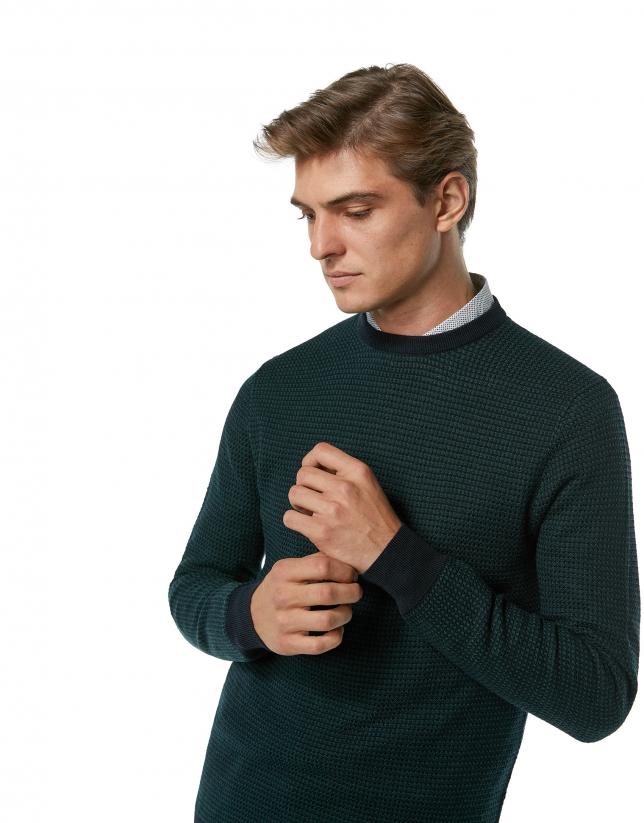 Jersey lana bicolor marino y verde