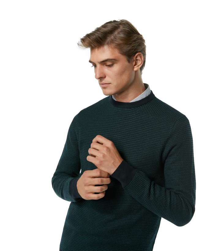 Navy blue and green wool sweater