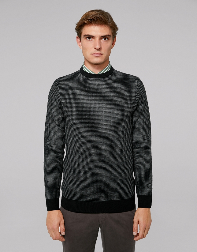 Two-color gray wool sweater