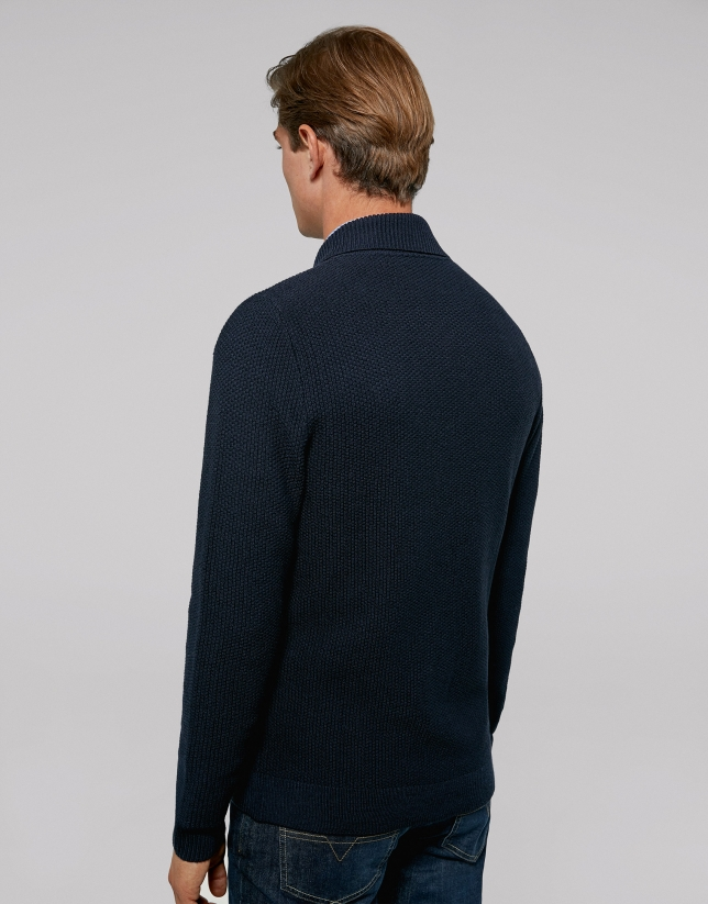 Navy blue double-breasted jacket