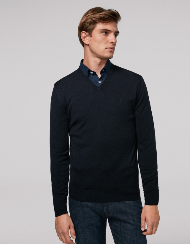 Navy blue wool sweater with V neck