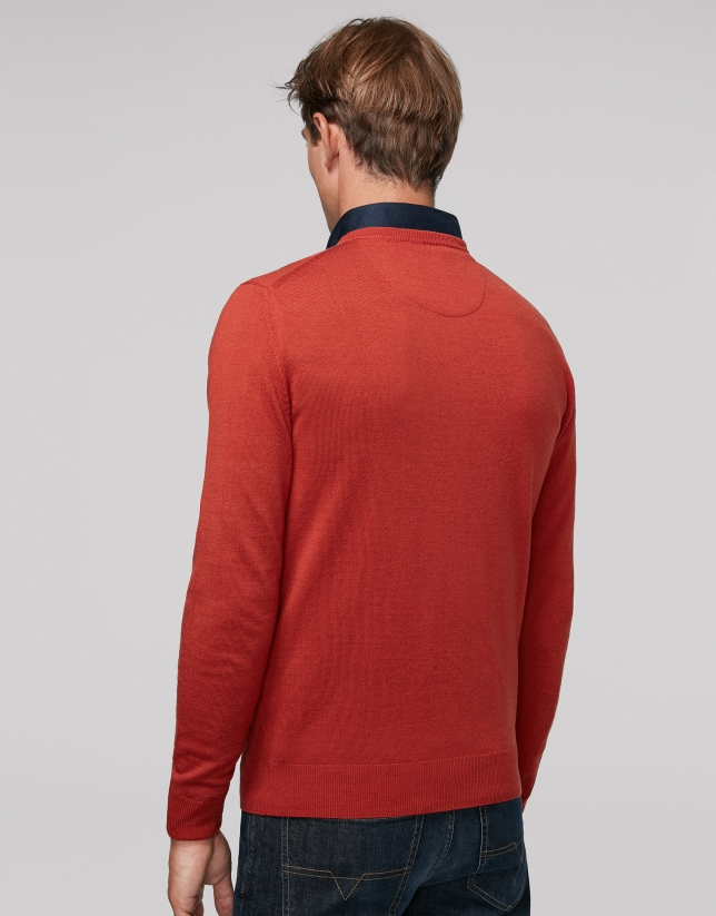 Tile wool sweater with V neck