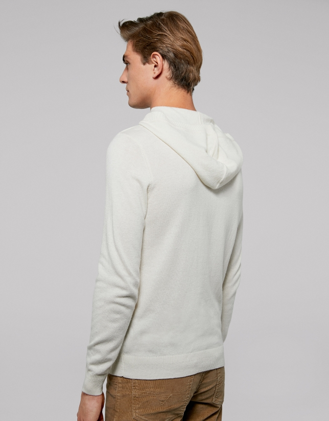 Ivory sweater with hood