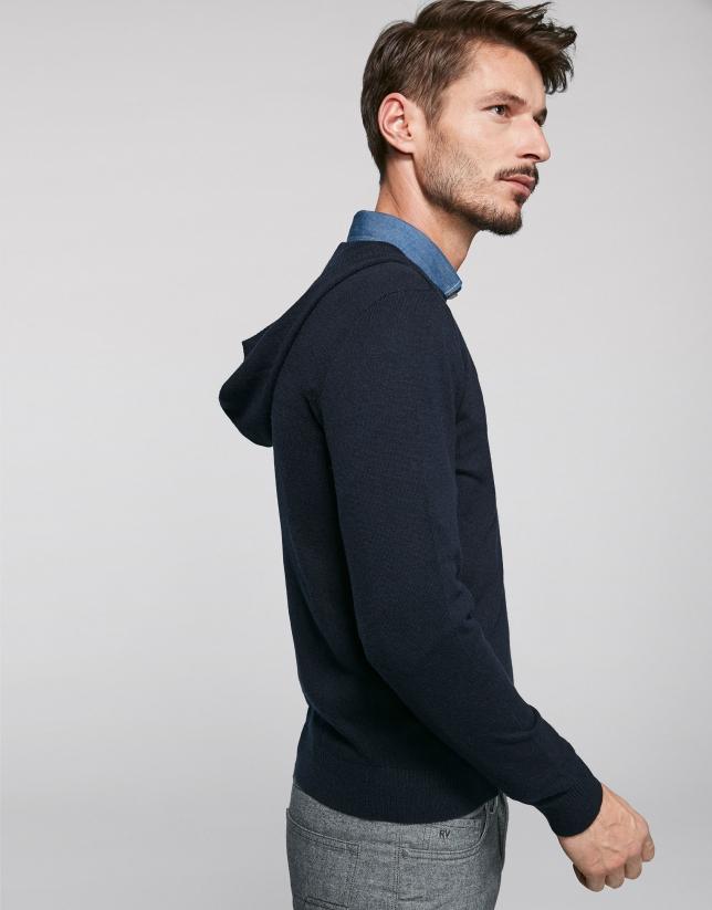 Jersey con capucha marino