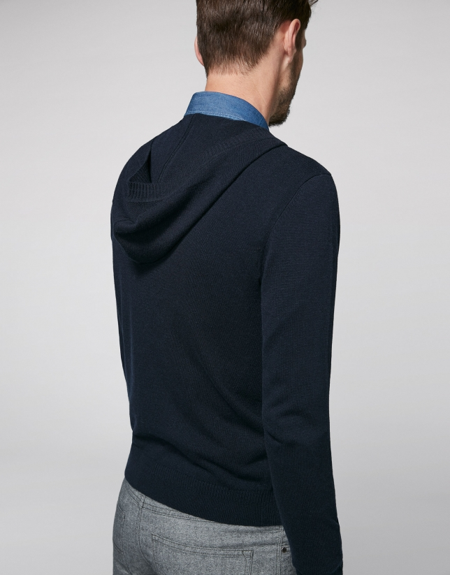 Navy blue sweater with hood