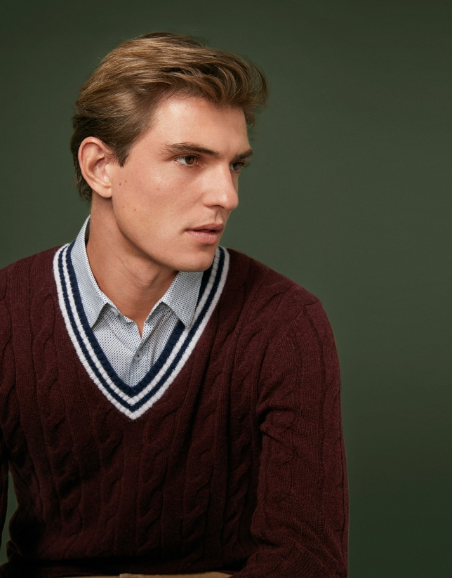 Burgundy cable knit sweater with V-neck