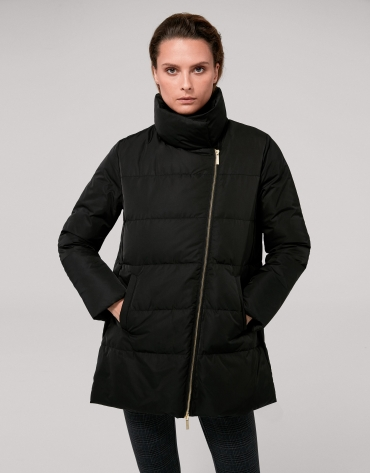 Black asymmetric anorak