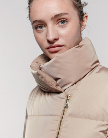 Mink-colored asymmetric anorak