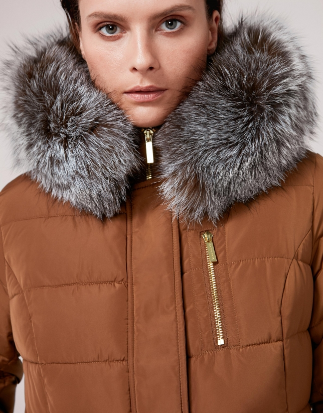 Long, mink-colored anorak and hood with fur