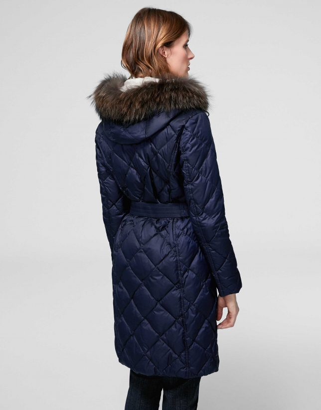Long, blue quilted windbreaker parka