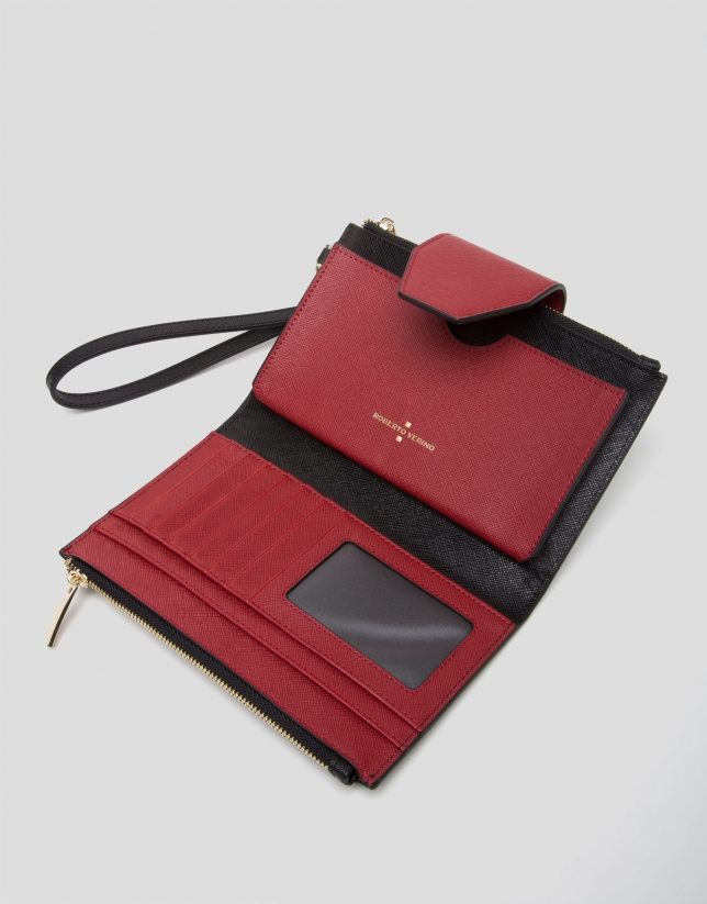 Three colors saffiano leather Orchidees double wallet