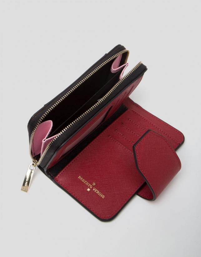 Portefeuille mini Orchidées en cuir saffiano