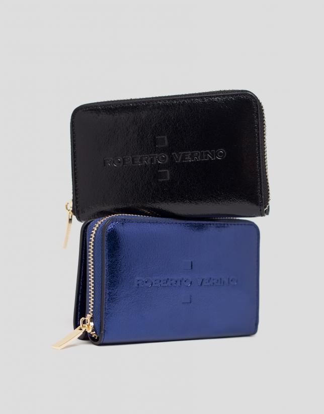 Portefeuille en cuir bleu métallisé