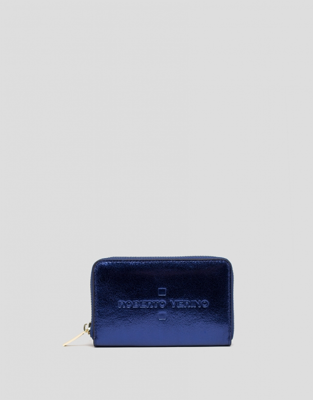 Blue metalized leather wallet