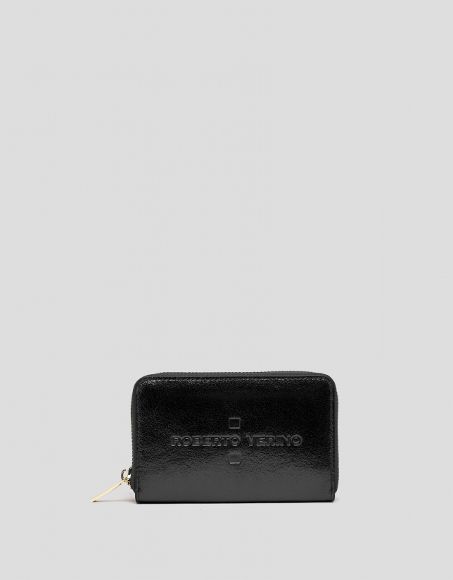 Portefeuille en cuir noir métallisé