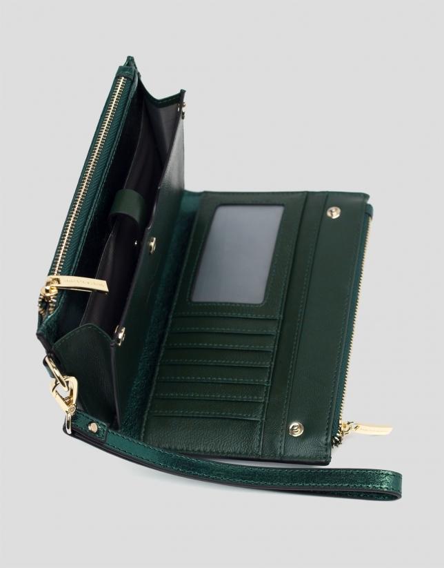Cartera doble piel metalizada verde